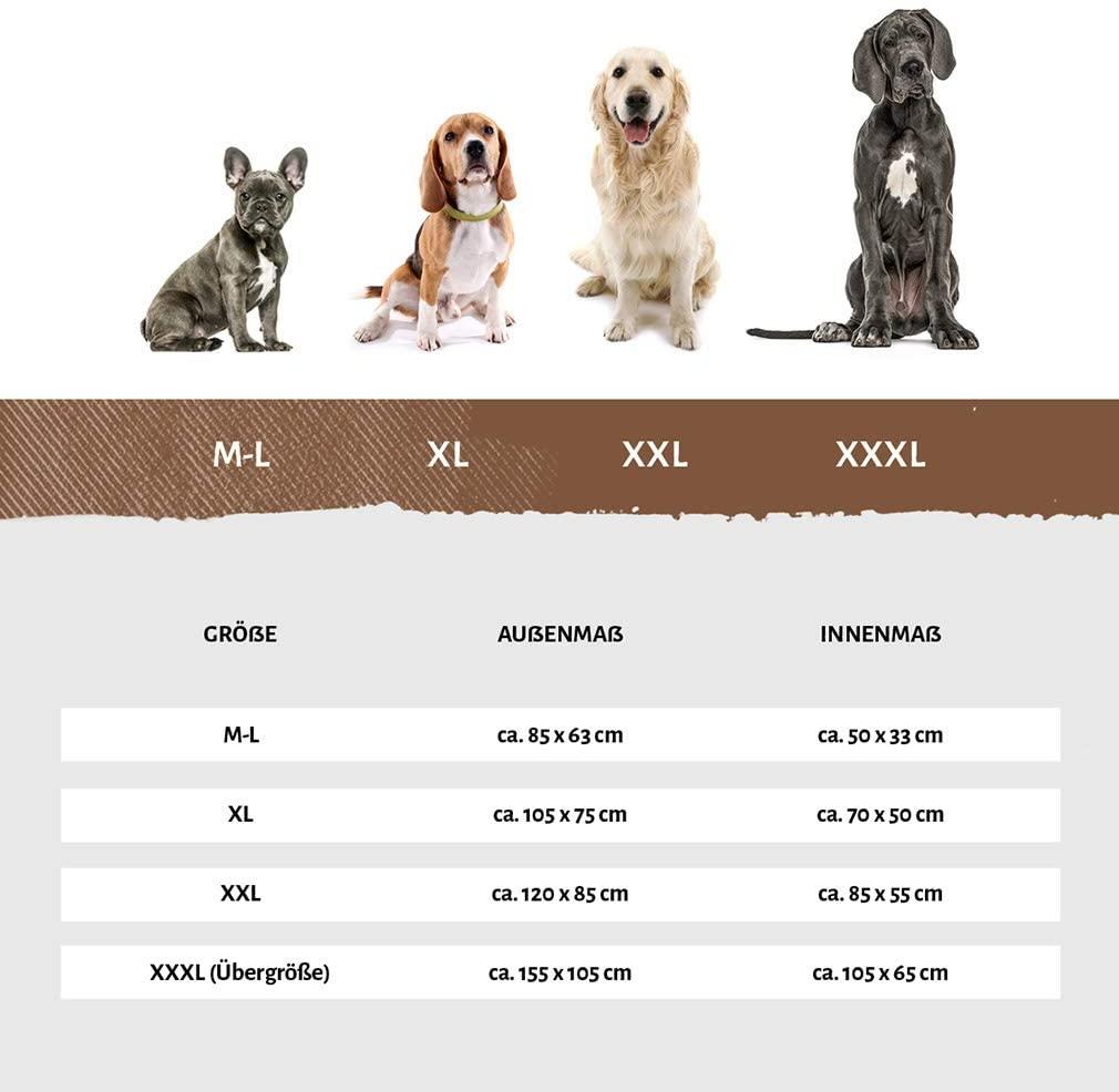 Hundebett Kunstleder Knuffelwuff Größentabelle